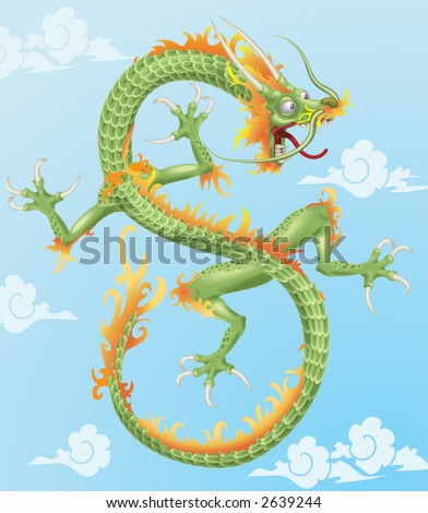 Chinese Dragon An illustration of an oriental style dragon. No Meshes used. Background on separate layer. - stock vector