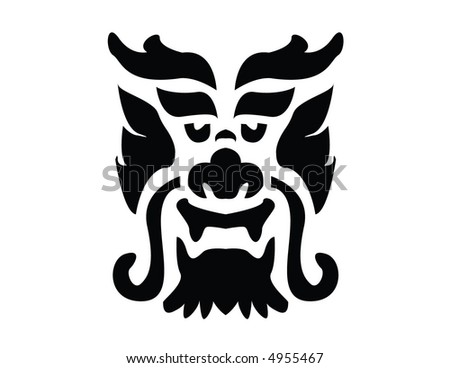 Chinese dragon mask - stock vector