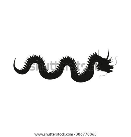 Chinese dragon silhouette isolated on white background. - stock vector