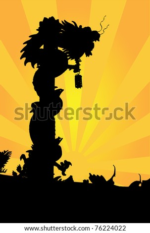 Chinese Dragon Silhouette. Vector design template - stock vector