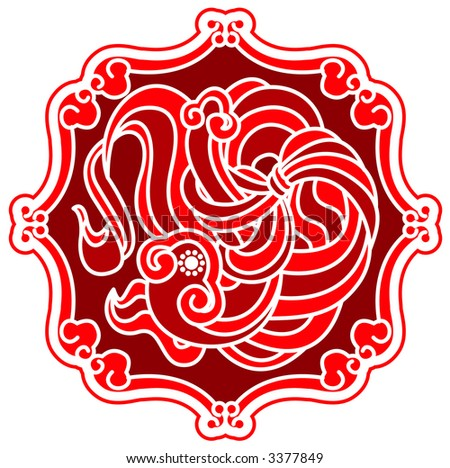 Chinese Drawing Pattern in paper cutting style