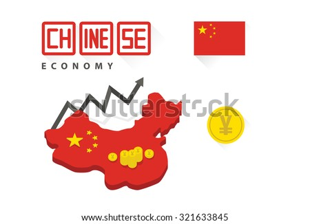 Chinese economy graph vector - stock vector