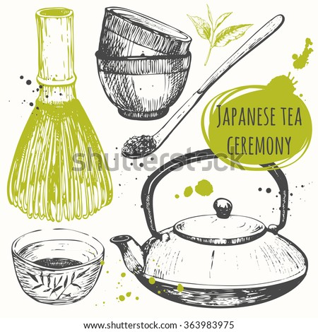 Chinese ethnic and national traditions of tea ceremony. Matcha tea. Traditions of tea time. Decorative elements for your design. Vector Illustration with tea party symbols on white background.  - stock vector