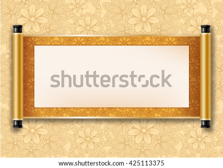 Chinese festive vector card with deployed ancient scroll. Golden floral pattern on scroll and on background. There is a place for your text, calligraphy or painting. Colored vector illustration. - stock vector