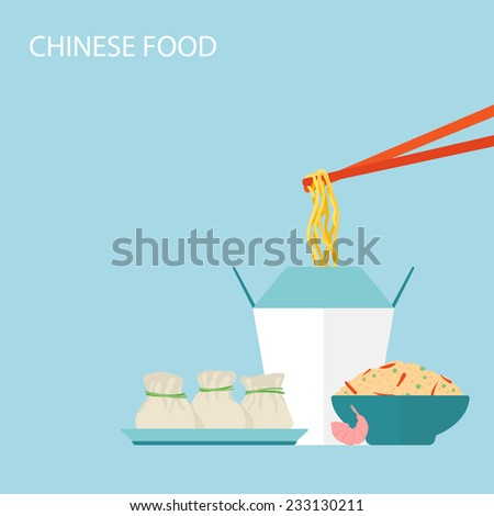Chinese Food Background. Vector illustration - stock vector