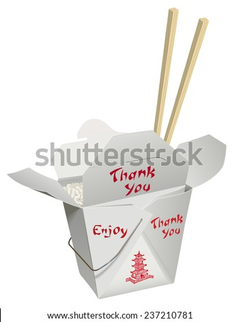Chinese food in a take-home container with chop stick placed down in the food. - stock vector