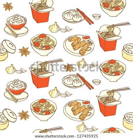 Chinese food seamless pattern - stock vector