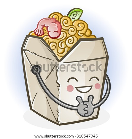 Chinese Food Take Out Box Cartoon Character - stock vector