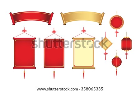 Chinese hanging and banner for graphic element. Graphic resource in China theme - stock vector