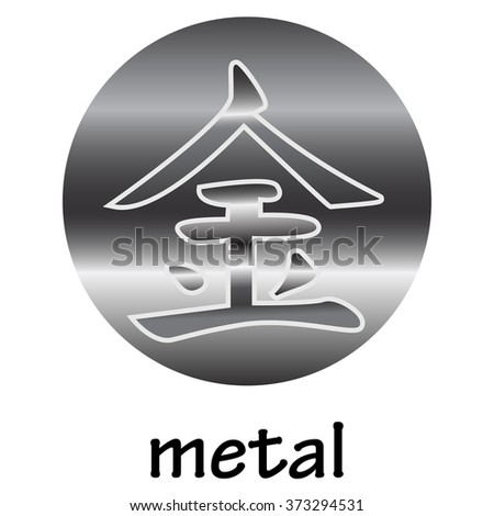 Chinese hieroglyph METAL - stock vector