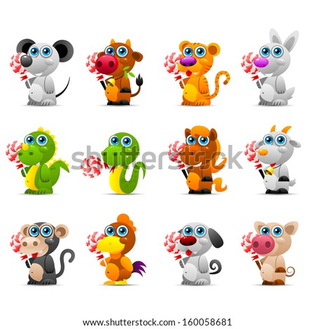 Chinese horoscope animal toys with sugar candy