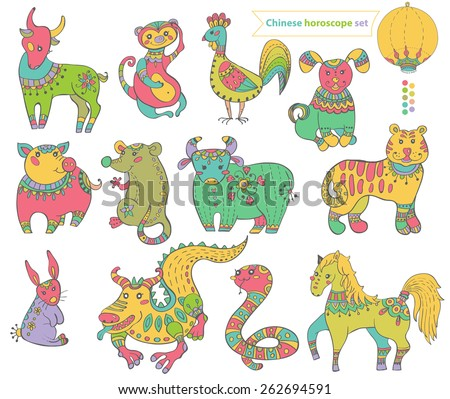 Chinese horoscope animals, colorful collection - stock vector