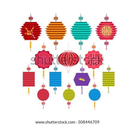 Chinese Lantern Collection. Chinese new year and mid autumn festival