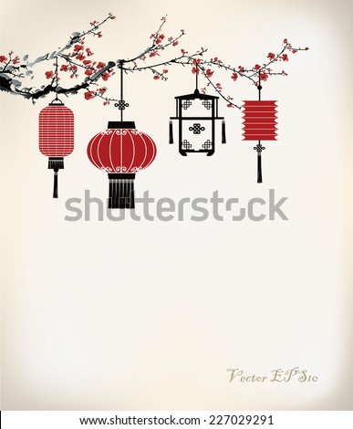 Chinese Lantern hang on cherry tree