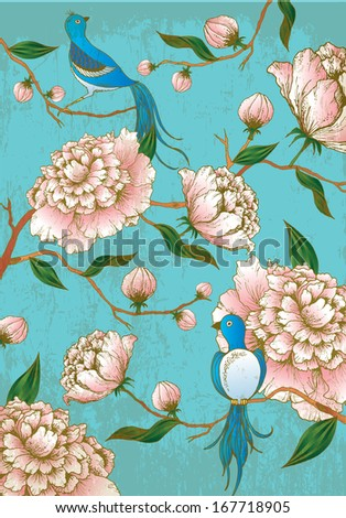 chinese lunar new year background/ peony flowers and birds hand drawn vector/illustration - stock vector