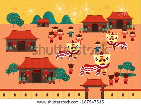 chinese lunar new year lion dance in chinese village with chinese character that reads wishing you a prosperous new year vector/illustration - stock vector
