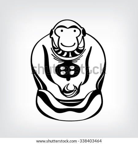 Chinese Lunar New Year Monkey Black Stock Vector 338403464