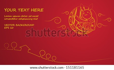 Chinese Mid Autumn Festival yellow moon and rabbit on red background - stock vector