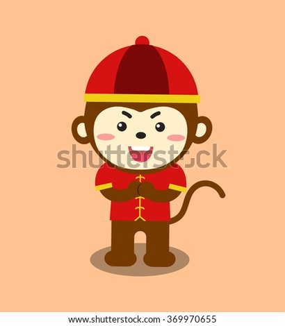 Chinese monkey boy wearing a red costume.
