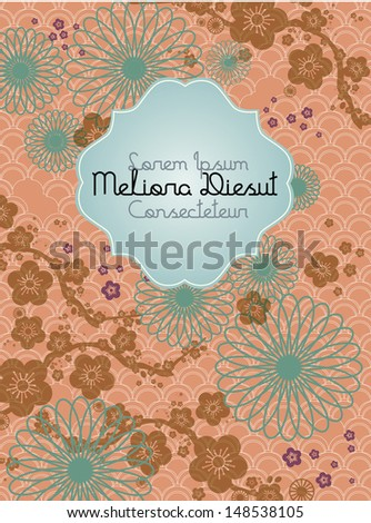 chinese motif background cherry blossom template vector/illustration - stock vector