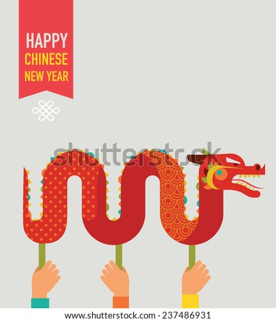 Chinese New Year background with red traditional dragon  - stock vector