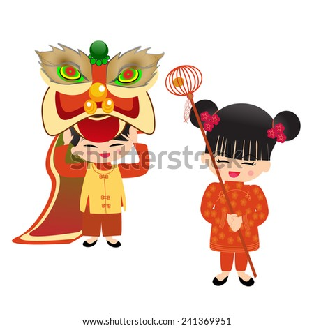 chinese new year boy and girl  - stock vector