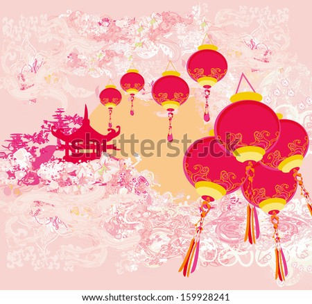 Chinese New Year card - Traditional lanterns and Asian buildings  - stock vector