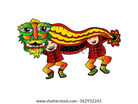 Chinese new year celebration with Lion Dance - stock vector