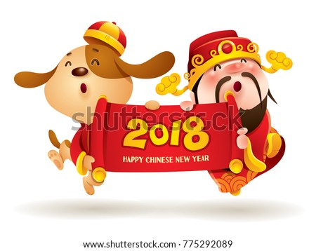 Chinese New Year. Chinese God of Wealth and Chinese Zodiac Dog with scroll. Traditional Chinese Costume. The year of the dog.