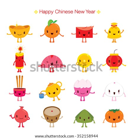 Chinese New Year Cute Cartoon Design Stock-Vektorgrafik 352158944 ...