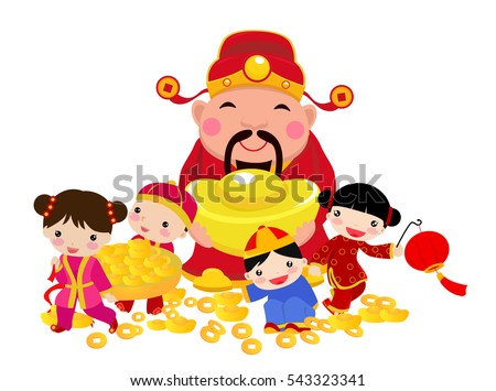 Chinese New Year Design with God of Wealth and children