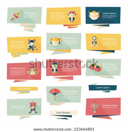 Chinese New Year flat banner background set,eps10