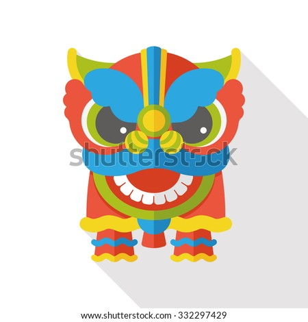Chinese New Year flat icon; The dragon and lion dancing head