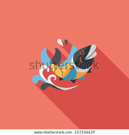 """Chinese New Year flat icon with long shadow,eps10, Chinese decoration means """" May you always get more than you wish for."""" - stock vector"""