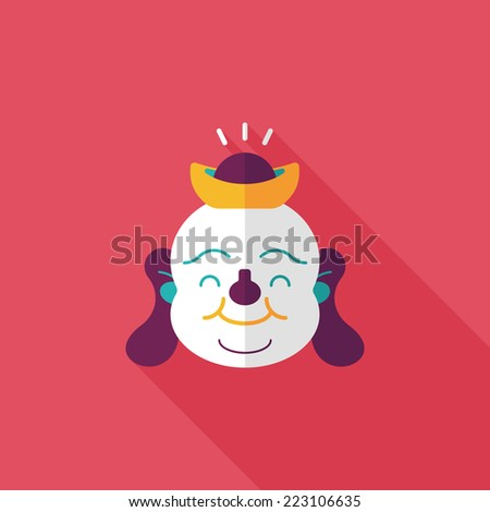 "Chinese New Year flat icon with long shadow,eps10, Maitreya means ""Bless you have wealth, monasticism and popularity."""