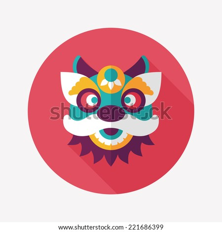 chinese new year flat icon with long shadoweps10the dragon and lion dancing - How Long Is Chinese New Year