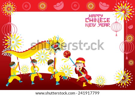 Chinese New Year Frame with Dragon Dancing