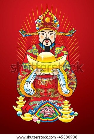 Chinese New Year god of wealth, riches and prosperity, with golden treasures and flower of lotus, vector illustration - stock vector