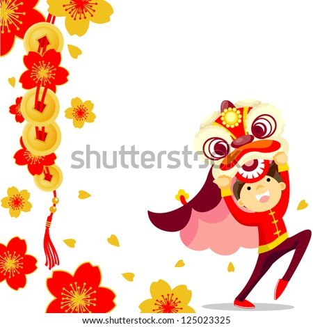 Chinese new year greeting card /Lion Dance