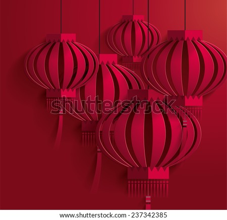 Chinese New Year lantern template vector - stock vector