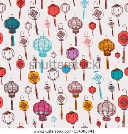 Chinese New Year Lanterns - stock vector