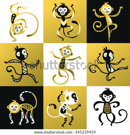 Chinese New Year monkey vector decoration icons. 2016 new year monkey cartoon chinese style. Happy monkey vector for New Year China design. Chinese Monkey vector illustration. Monkey black, white icon - stock vector