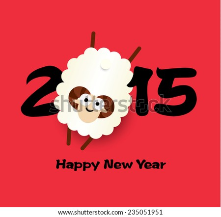 Chinese New Year of the Goat 2015, greeting card - stock vector