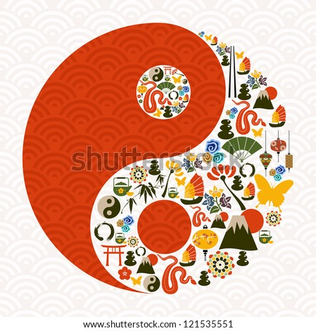 Chinese New Year of the Snake yin yang symbol composition. Vector illustration layered for easy manipulation and custom coloring. - stock vector