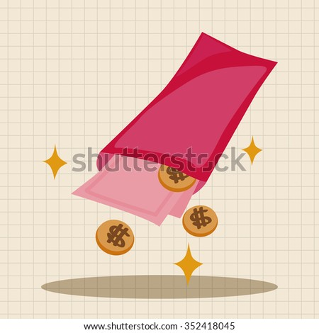 Chinese New Year red envelope theme elements - stock vector