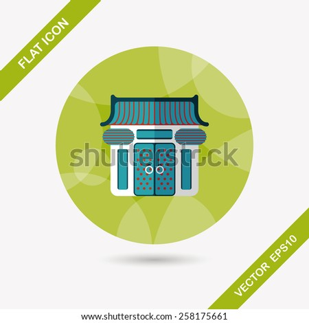 Chinese New Year traditional temple flat icon with long shadow,eps10 - stock vector