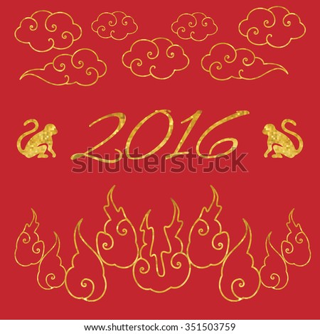 Chinese new year / vector illustration / golden and red - stock vector