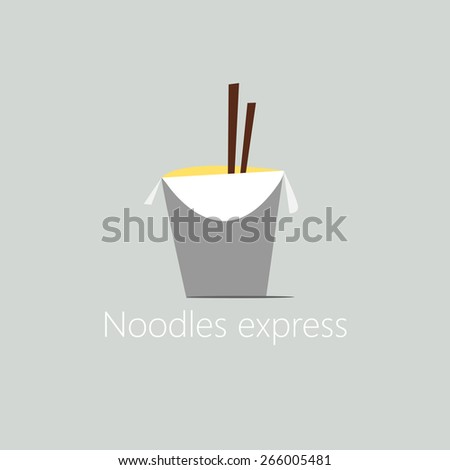 Chinese noodle in box. Flat style - stock vector