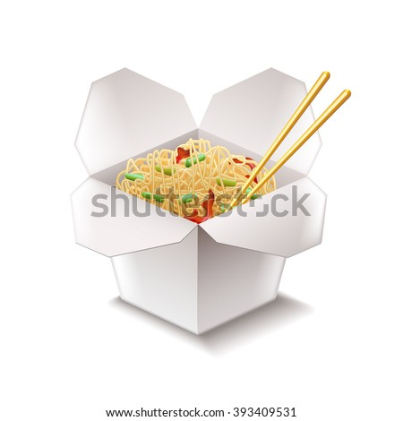Chinese noodles isolated on white photo-realistic vector illustration