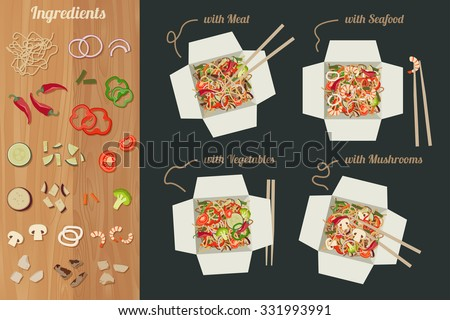 Chinese noodles with meat, seafood, vegetables and mushrooms in paper boxes. Ingredients for noodles wok. - stock vector